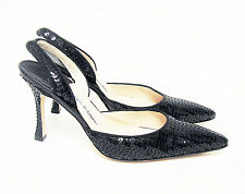 Manolo Blahnik Carolyne Black Sequin Paillets Slingback Pumps shoes Size 37 US 7
