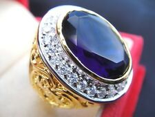 # 13.5 Deluxe Blue Sapphire MEN Gold 24K RING Gem CZ Filigree Solitaire