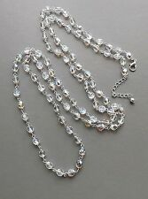 Long aurora crystal glass bead necklace . flapper AB silver tone glam jewellery