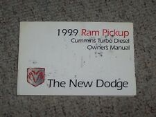 1999 Dodge Ram Truck Pickup 2500 Cummins Diesel Owner Operator User Guide Manual