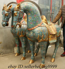 "64"" High Rare Royal Chinese Cloisonne Enamel Palace Zodiac Fu Horse Statue Pair"