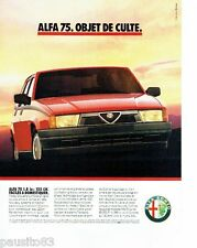 PUBLICITE ADVERTISING 116  1989  Alfa Romeo    Alfa 75 1.8 ie