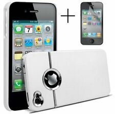 WHITE & SILVER CHROME HARD CASE FOR IPHONE 4 4S 4G With Screen Protector & Cloth