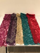 "5 PIECE ASSORTED EMBROIDERY SEQUINS HAND BEADED LACE FABRIC 52"" WIDE EACH PC 1/4"