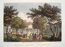 Berlin Mineral-Brunnen Trinkanstalt kolorierter echter alter Stahlstich 1832