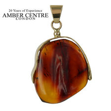 Unique and Rare Mexican/Dominican Amber Pendant in 14ct Gold -RRP£390 GPM005