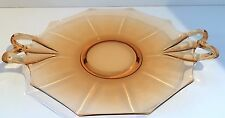 Vintage Peach Depression Glass Serving Tray, Appetizer Dish