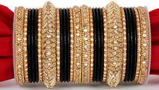 Gold Tone Black Bollywood Bridal Bangle Bracelet Set Wedding Jewelry Kundan 2*4