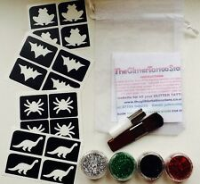 GLITTER TATTOO KIT BOYS 16 RE-USABLE MINI STENCIL/4 GLITTER/GLUE BARGAIN BATMAN