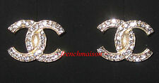 AUTHENTIC CHANEL CC Logo Earrings Classic Gold Crystal Glittering Stud 2017 New