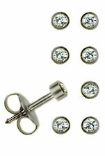 4 Pairs Mini Surgical Stainless Steel Ear Piercing April RD2.0mm Stud Earrings
