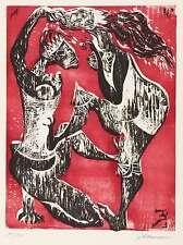 HANSEN-BAHIA - Tanzendes Paar - Farbholzschnitt 1962