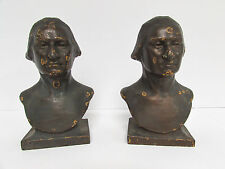 ANTIQUE PRESIDENT GEORGE WASHINGTON BUST BOOK ENDS CAST IRON BRONZE OVERLAY 6""