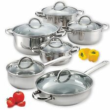 Induction Cookware Set 12 Piece Stainless Steel Pans Pots Kitchen Stove