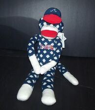 Atlanta Braves Plush Sock Monkey Blue White Polka Dots Forever Collectibles 20""