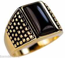 Black Onyx Dot Matrix mens ring 14k gold overlay size 12