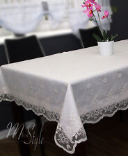 White Tablecloth and Cream Lace Overlay 2 pieces Set Floral