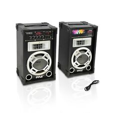 "NEW Pyle PSUFM835A PAIR of 800W 8"" Speakers USB/AUX Input FM DJ Flashing Lights"