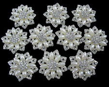 Wholesale 10x Pearl Crystal Rhinestone Brooch Pin Bridal Bouquet Silver Plated