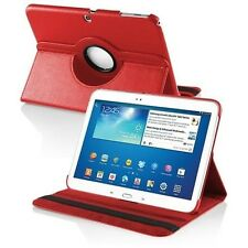 "Red Leather 360 Rotating Case Cover Skin for Samsung Galaxy Tab 3 10.1"" P5200"