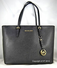 MICHAEL MICHAEL KORS JET SET TRAVEL ZIP TOP BLACK SAFFIANO LEATHER TOTE BAG