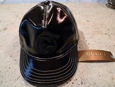 GUCCI  GG LOGO MENS BLACK PELLE LEATHER BASEBALL CAP ITALY SIZE AVAILABL S or M
