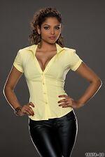 Damen SeXy Bluse Hemd mit Kragen Gelb Baumwolle Gr. L Neu Fashionbox24h MM600