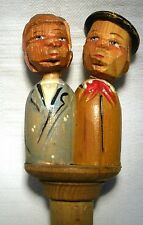 VINTAGE ANRI CARVED WOODEN FIGURAL MECHANICAL BOTTLE STOPPER  KISSING COUPLE