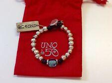 """NWT Uno de 50 Silvertone Beaded Bracelet w Larger Blue Bead 7.5"""""""