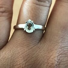Natural 1ct Green Amethyst 925 Solid Sterling Silver Solitaire Pear Ring sz 7.75