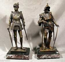 "PAIR OF BRONZE 16thC GERMAN KNIGHTS INSCRIBED H MULLER & P DISHER 23""H BASE 9.5"""