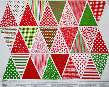 "35"" FABRIC BUNTING PANEL  FLAG CRAFT COTTON  DIRECTIONS INCLUDED MERRY CHRISTMAS"