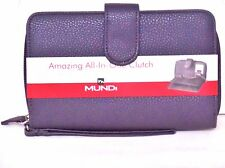 BIG FAT WALLET Mundi Women ALL IN ONE Checkbook Cards Ladies Clutch Purple I735X