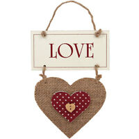 Shabby Chic ' LOVE ' Button Design Wooden Hanging Heart Sign Plaque NEW