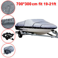 Gray 19-21ft  Waterproof Heavy Duty Speedboat Boat Cover Match Fish-Ski V-Hull