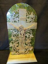 "CROSS CHRIST WOOD IVY SCROLL SAW ART HAND MADE w/base acrylic  Altar 16"" tall"