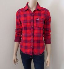 NWT Hollister Womens Plaid Shirt Size XS Top Red & Blue Button Down Blouse