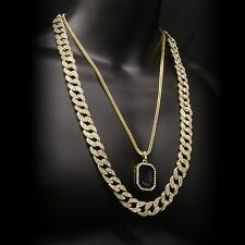 14k Gold Plated Hip Hop Fully Cz Cuban Chain w/ Iced Out Black Ruby Pendant