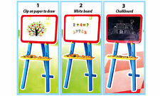 3 in 1 Childrens Kids Learning Easel Stand Magnetic Black White Chalk Board 2827