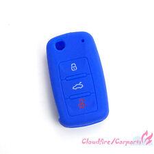 Clé Avec Télécommande étui Coque Protège-clavier bleu Pour VW Jetta Skoda Seat
