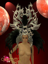 Glitter Silver Dragon headdress and black feather high collar backpack
