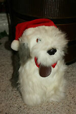 "Dakin Soft Classics Plush Dog OLD ENGLISH SHEEPDOG Shaggy Christmas Hat 13"" D1"