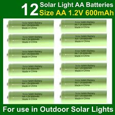 12 x AA 1.2V 600mAh NiMH Rechargeable Batteries for Garden Solar Lights (NiCd)UK