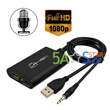 1080P HD USB PC to HDMI Graphics Converter Video Adapter 3.5mm Audio Cable HDTV
