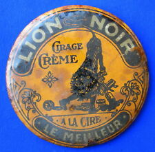vers 1920 : MIROIR DE POCHE PUB CIRAGE CREME LION NOIR / ANTIQUE POCKET MIRROR