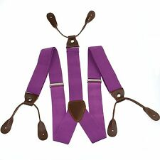 Light purple Men's Adjustable Elastic Button holes Suspenders Solid Braces BD702