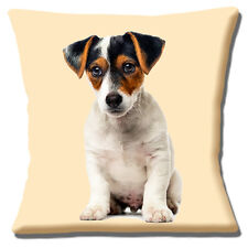 "CUTE JACK RUSSELL PUPPY DOG TAN BLACK WHITE SMOOTH HAIR 16"" Pillow Cushion Cover"