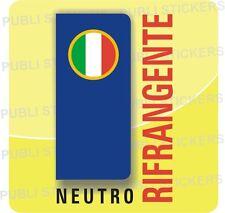 ADESIVO BLU RIFRANGENTE NEUTRO CON BANDIERA ITALIA X TARGA AUTO,CAMION,CAMPER