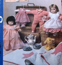 "Vtg 80s babydoll clothes pattern fits 13"" - 15"" doll VOGUE dress sleeper skirt"