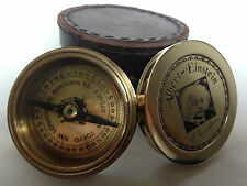 Solid Brass Nautical Albert Einstein lid Pocket compass with leather case- Gift